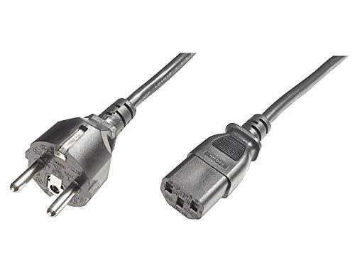 PremiumCord Netzkabel 230V 2m, Stromkabel mit Schutzkontakt auf Kaltgerätebuchse C13, IEC 320, PC Netzkabel 3 Polig, Farbe schwarz