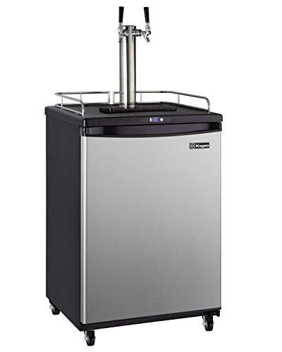 Kegco Keg Dispenser, Two Faucet, Stainless Steel