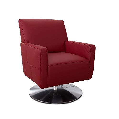 CAVADORE Drehsessel Barney mit Federkern / Drehbarer Ledersessel mit Armlehnen fürs Wohnzimmer / 68 x 84 x 71 / Echtleder, rot