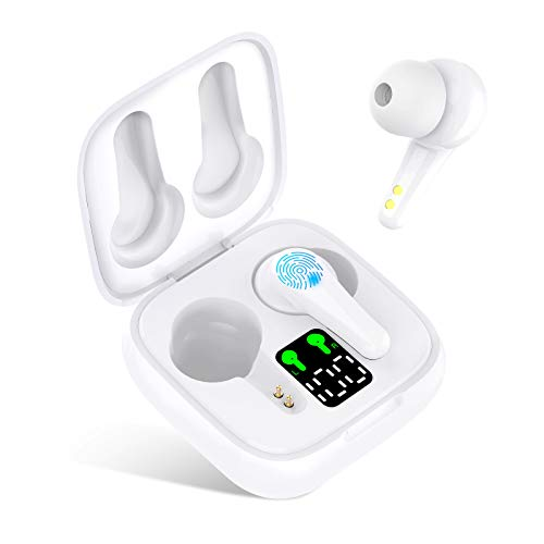 BiFee Wireless Earbuds, [Upgraded] Bluetooth V5.2 Headphones in-Ear Stereo IPX5 Waterproof Wireless Headphones 25 Hours Playing Time with Touch Control,Built-in Mic Single/Twin Mode (White)