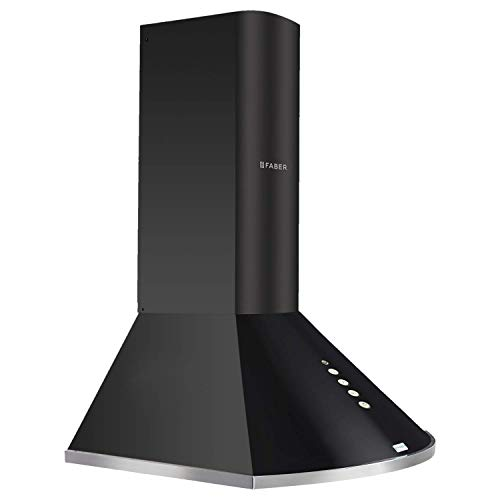 Faber 60 cm 1000 m³/HR Pyramid Kitchen Chimney (HOOD CLASS PLUS PB BK LTW 60, 2 Baffle Filters,Black)