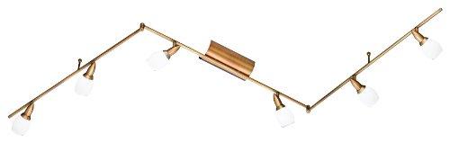 Wofi Deckenspot Mauro 6-flammig, messing-gefärbt, Länge ca. 240 cm, Höhe ca. 22 cm 9301.06.02.0000