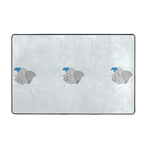 DNBCJJ Niedlicher Dumbo-Teppich, weicher Flanell, rutschfest, für Schlafzimmer, Kinderzimmer, Dekoration, 152,4 x 99,1 cm