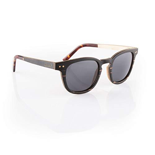 Iwood Sonnenbrille aus Holz/Echtholz/Echtholzbrille/Holzbrille - Modell 10 dunkles Sandelholz - für Damen und Herren - UV400 mit Polarisationsfilter (polarisiert) - Brillenmanufaktur aus Deutschland