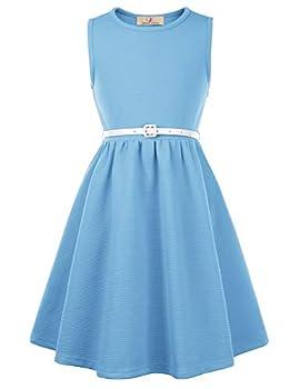 GRACE KARIN Girls Retro Sleeveless Floral Printed Swing Dresses with Belt Powder Blue