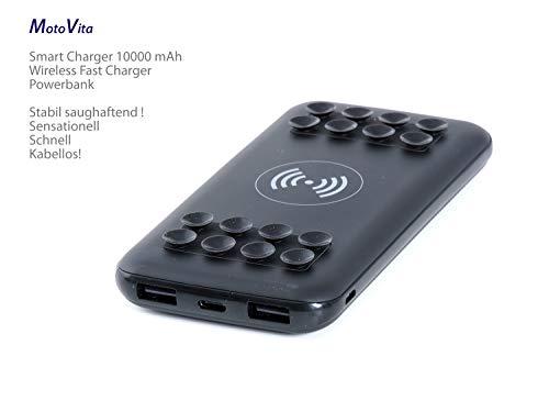 MOTOVITA POWERBANK 10000mAh, Wireless Charging SAUGHAFTEND über hochwertige Silikon Saugnäpfe Ink. 2 x zusätzl. USB, 2in1 Funktion