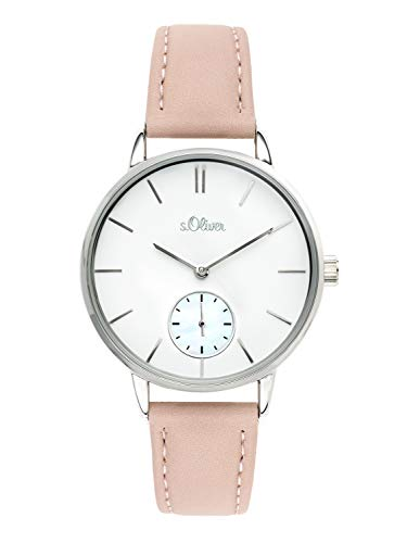 s.Oliver Time Damen Analog Quarz Uhr mit PU Armband SO-3585-LQ