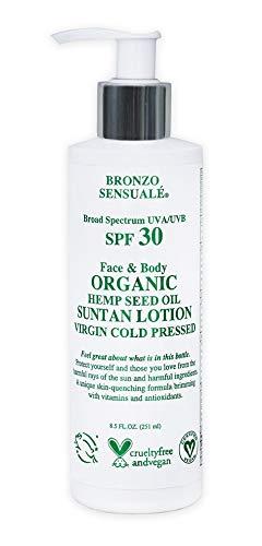 Bronzo Sensuale SPF 30 Sunscreen Protective Organic Hemp Seed Golden Tanning Lotion 85 Oz