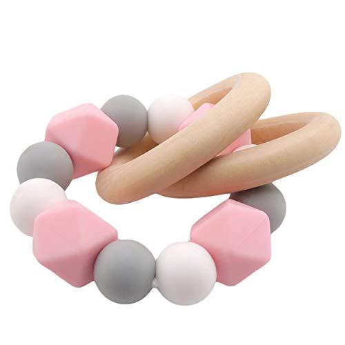 Promise Babe Montessori Spielzeug Beißring Silikon Perlen Baby Zahnen Nursing Zubehör Armband Hölzern Ring Baby Krippe Spielzeug