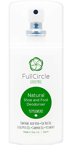 Extra Strength Natural Foot & Shoe Deodorizer Spray for Shoes Feet and Trainers. Peppermint & Tea Tree Scent by FullCircle Lifestyle | 100ml