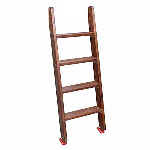 Taburete de escalera Pino Suelo Escalera de Litera, 125cm de Largo Tarea Pesada Escaleras de 4 Peldaños con Almohadillas para Pies Antideslizantes y Accesorios de Montaje