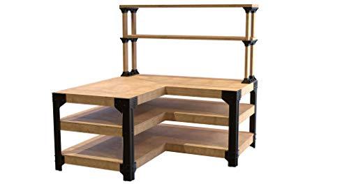 2x4basics 90162ONLMI L-Shaped Garage Workbench and Shelf Link Storage Bracket Kit (Lumber not included)