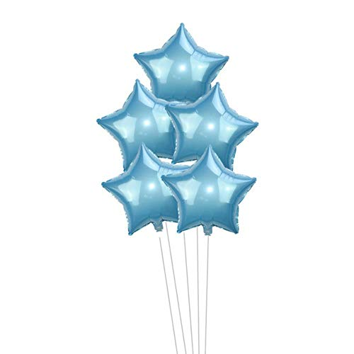 AQH 5Pcs Globo de Estrella de Papel de Plata Dorada Globos de Boda Decoración Baby Shower Globos de Fiesta de cumpleaños para niños Globos, Azul