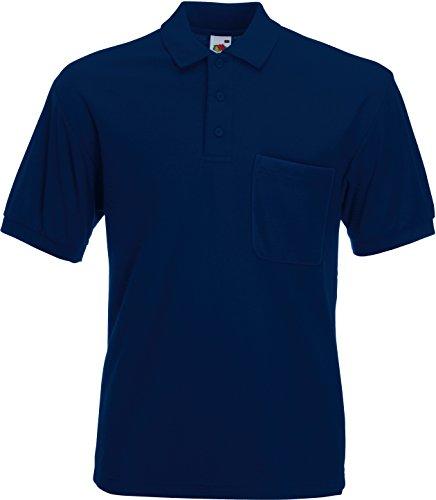 Fruit of the Loom 63–308–0–Poloshirt mit Brusttasche, Mädchen kinder Herren damen, Blu - blu navy, M