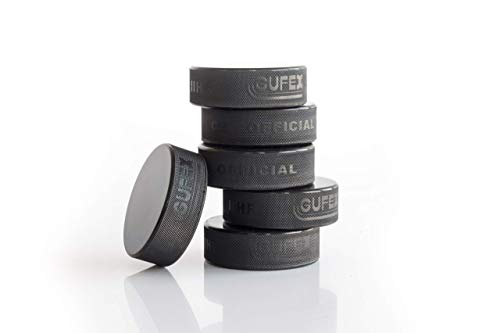 """Hockey Revolution 50-Pack Official Ice Hockey Pucks - Made in Czech Republic - Durable Rubber with Smooth Sides, Dimpled Side Walls - Regulation Size - Diameter 3"""", Thickness 1"""", 6oz, Black"""