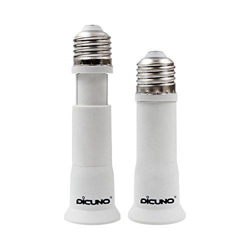 DiCUNO E27 10CM-13CM Einstellbare Verlängerung Lampenfassung Konverter, Flexible Medium Lampensockel Adapter,0-250V, E27 auf E27 Sockel, 2 Packs