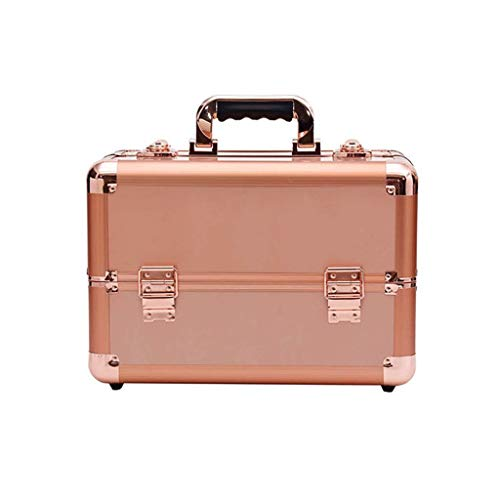 DDL Makeup/Train/Cosmetic Case/Trolley/Suitcase/Box With Adjustable Black (Color : Gold, Size : 36x22x26) (Color : Rose Gold, Size : 36x22x26)