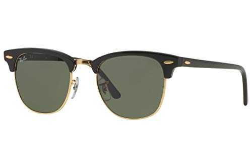 Ray-Ban RB3016 Clubmaster Classic Unisex Sunglasses (Black Frame / Green G-15 Lens W0365, 49)