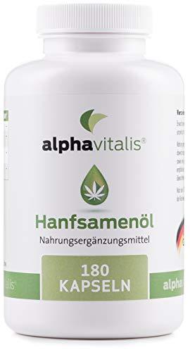 Omega 3-6-9 Öl Kapseln aus Hanföl -180 Softgelkapseln - hochdosierte 1000 mg Hanfsamenöl je Kapsel (kaltgepresst) - Qualität made in Germany