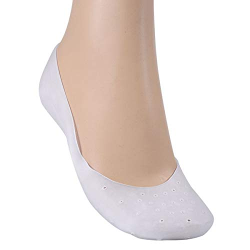 HaiQianXin 1 para silikon gel feuchtigkeitsspendende socke atmungsaktiv elastische ferse rissige fußpflege protector socken (Color : White, Size : L)