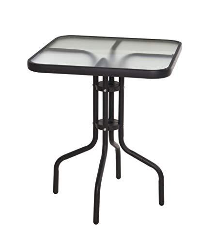 Metall Glastisch eckig - 60x60 cm - Bistrotisch mit Glasplatte - Gartentisch Balkontisch Terrassentisch Tisch schwarz