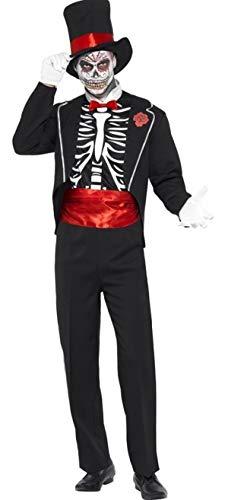 Herren Smoking Skelett Tag der Toten Bräutigam Zuckerschädel Halloween Kostüm Kleid Outfit - Schwarz, Large