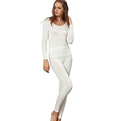 Liang Rou Women's Crewneck Long Johns Ultra Thin Modal Thermal Underwear Top & Bottom Set Off-White Small