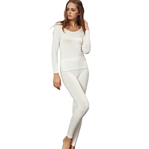 Liang Rou Women's Crewneck Long Johns Ultra Thin Modal Thermal Underwear Top & Bottom Set Off-White Large