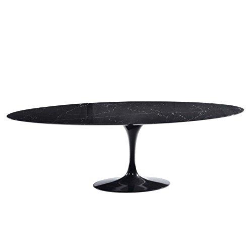 Mesa ovalada TULIP Eero Saarinen - 140x80, tablero de mesa en mármol Marquinia MADE IN ITALY