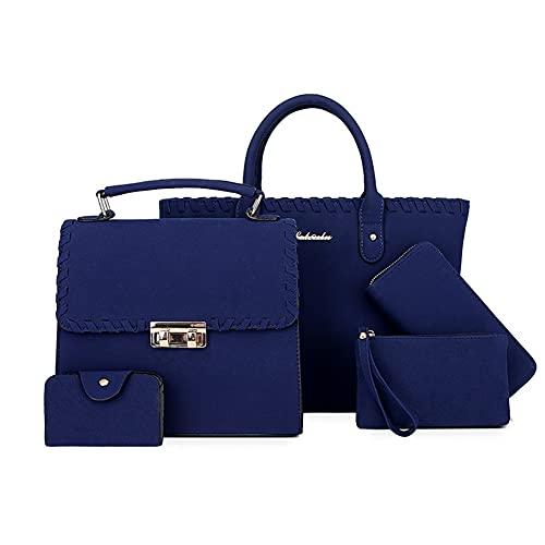Juego de 4 bolsas de piel para mujer, de lujo, de diseño, bolso de mensajero y cartera (color azul, tamaño: 30 x 15 x 25)