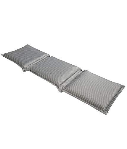 Dehner Flexbankauflage Astana, 3-Sitzer, ca. 160 x 45 x 6 cm, Polyester, grau/weiß