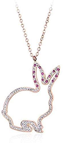 Collar Elegante para Mujer Creativo Lindo Conejito con Taladro clavícula Temperamento Oro Rosa Titanio Acero pequeño Y