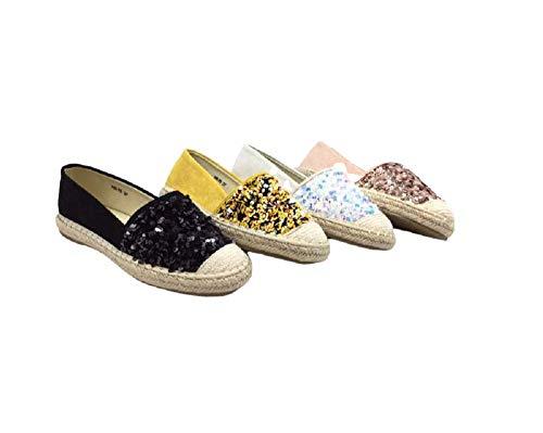 Fashion Mode Espadrilles Schuhe Damen Keilabsatz Sandalen Seil Espadrille Platform Keilabsatz Sommer Mode H5-75 Pailletten, Schwarz - Schwarz  - Größe: 38 EU