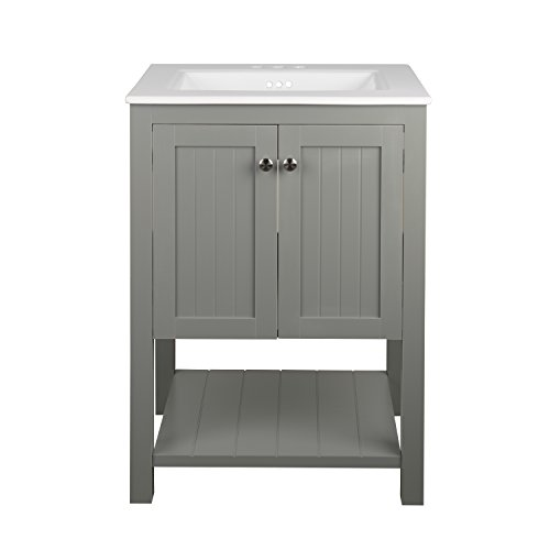 Monroe Bathroom Vanity Set with Ceramic Top in White and Integrated Sink (30') YS1130