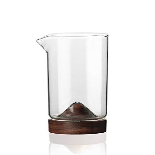 Unieke 280ml Wine Glass Tea Cup, houten bodem hittebestendig glas Solid Wood Base Mooie waterdicht weerstand op hoge temperatuur, gebruikt voor whisky, bier cocktailglas