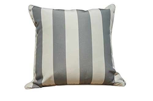 Direct Wicker 45 x 45 cm wasserdicht Streifen Sofa Überwurf Kissen Kissen Fall Bezüge für Garten Stühle und benches- grau weiß gestreift
