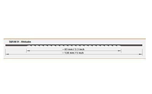 12 lames de scie sauteuse 130mm, pour bois et plastique, weitzahn, TAIFUN 51 - Größe 4