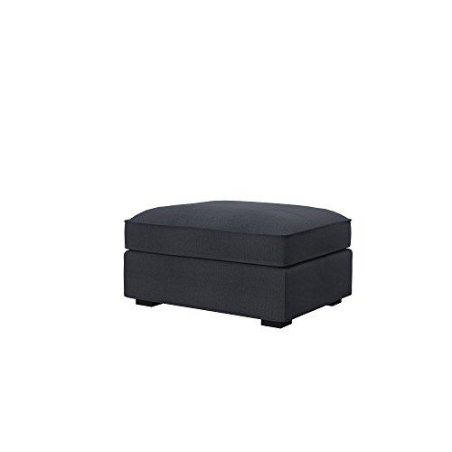 Soferia Fodera di Ricambio per Ikea KIVIK poggiapiedi, Tela Classic Steel, Grigio