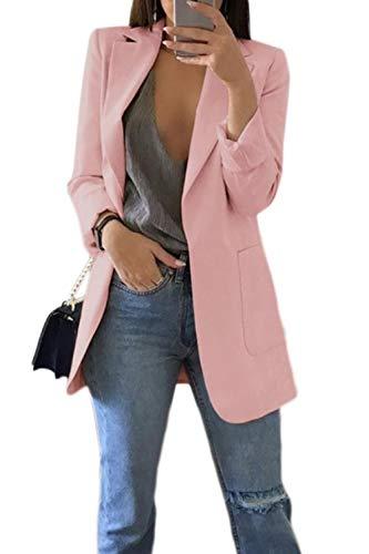 Mujer Blazer Abrigo Manga Larga Casual Chaqueta Cárdigan Oficina Traje Outwear