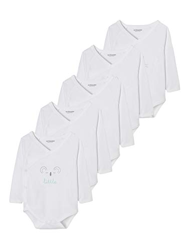 Vertbaudet Lot de 5 Bodies bébé Naissance Pur Coton imprimé Graphique Manches Longues Blanc 3M - 60CM