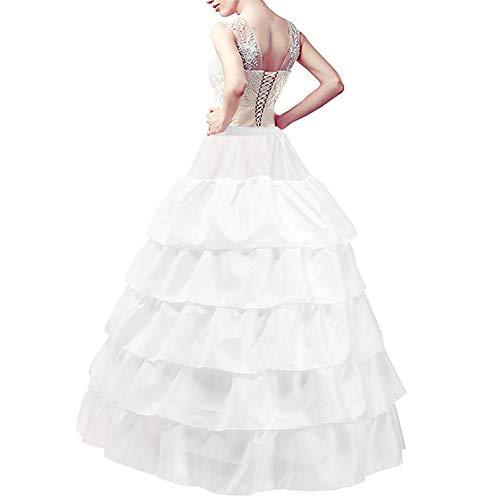 LONGBLE Reifrock Brautkleid Unterrock Petticoat Krinoline für Hochzeitskleider Ballkleider Barock Kleid Unterröcke - 4 Reifen 5 Rüschen, Weiß