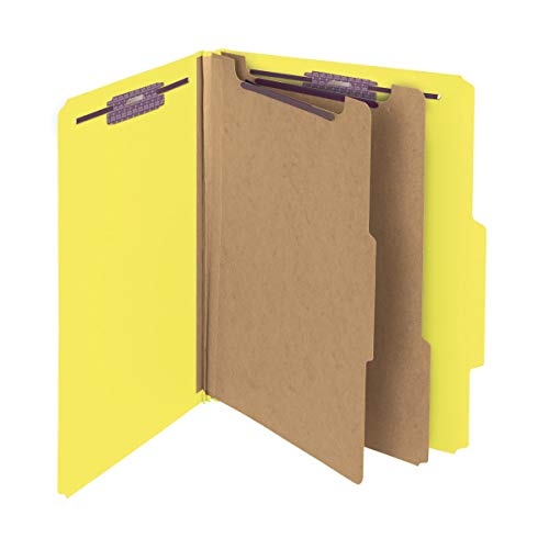 """Smead Pressboard Classification File Folder with SafeSHIELD Fasteners, 2 Dividers, 2"""" Expansion, Letter Size, Yellow, 10 per Box (14034)"""
