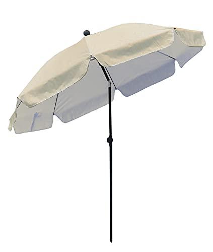 Parasol de Jardín/Playa Ø 2 m, Sombrilla de jardín con UPF 50+, Inclinable, Portátil y Resistente al Viento, Bolsa de Transporte, Tubo de hierro 22/25mm,
