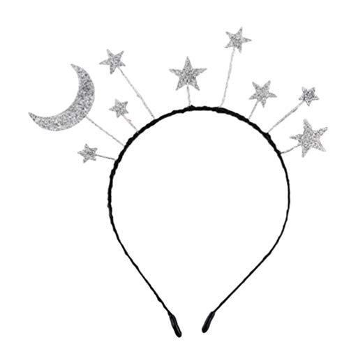 Amosfun Diadema para fiesta de cumpleaños, con estrellas y luna, con purpurina, para fiestas de cosplay, accesorio de disfraz.