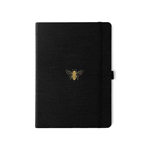 Dingbats* Notebooks Pro Groß Blanko B5 (17.6 x 25) Hardcover Notizbuch - Textilbezug, 160gsm Weißes Skizzenpapier, Innentasche, Gummiband, Stifthalter, 2 Lesezeichen (Schwarzer Biene), D5706B