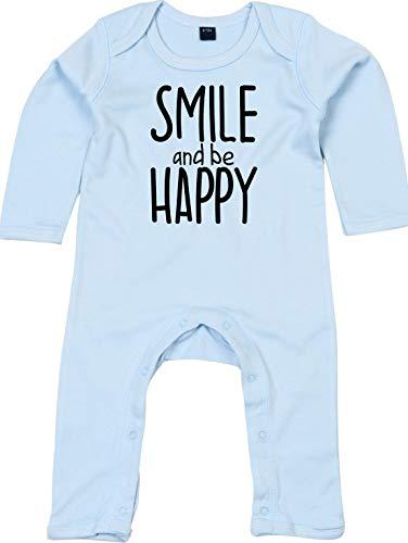 Kleckerliese Combinaison pour bébé avec motif Smile and be Happy - Bleu - 6-12 mois