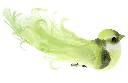 Deko-Vögel mit Clip apfelgrün, 12 x 3,8 cm, 2 Stück, Tisch- und Raumdeko Baumschmuck