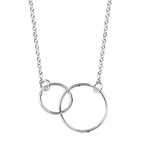 Iyé Biyé Jewels - Collar Colgante Mujer Dos Aros 22 Mm Plata de Ley 925 Cadena Rolo 40+5 cm