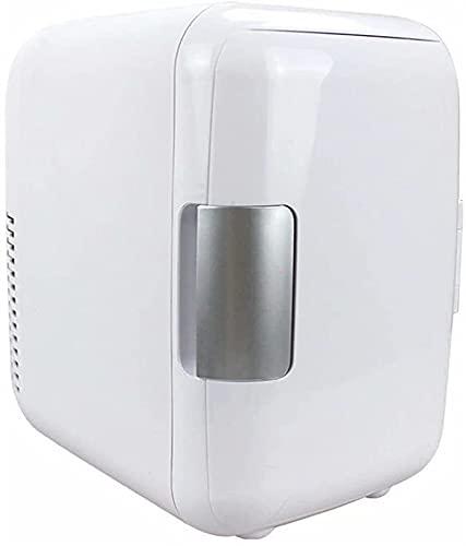 Auoeer 4L Mini Nevera, Refrigeración Y Calefacción Frigorífico, Bebida Portátil Nevera De Coches De Vino, con Mango De Maquillaje Cosmético FRIERBER Dual-Uso para Dormitorio (Color : White)