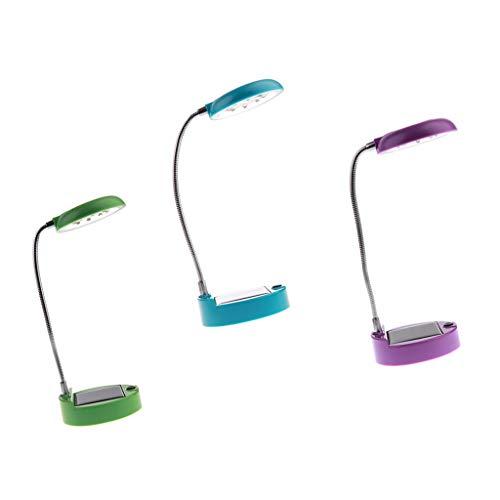 perfeclan Juego de 3 Lámparas de Escritorio LED Solares, Lámpara de Lectura Portátil con Cuello de Cisne Flexible, Luz de Recargable por USB para Oficina E